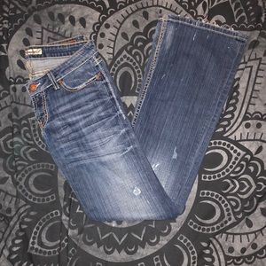 BKE Stella Stretch 27 x 33.5 destroyed paint jeans